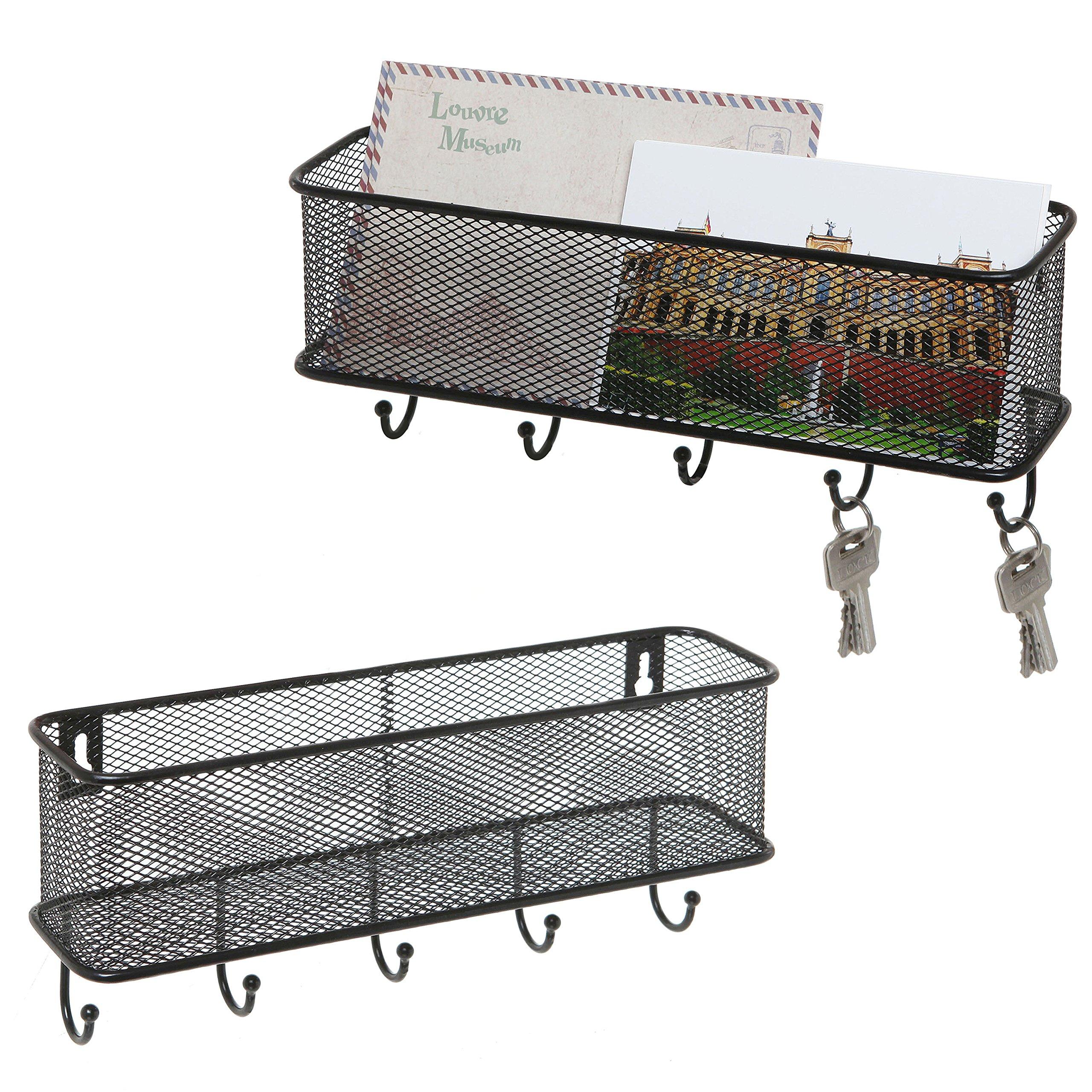 Modern Black Wall Mounted 5 Key Hook Rack with Metal Wire Mesh Mail Basket, Set of 2