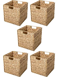 Trademark Innovations Foldable Hyacinth Storage Basket with Iron Wire Frame  by (Set of 5)