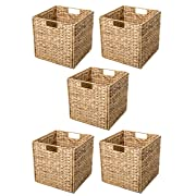 Trademark Innovations Foldable Hyacinth Storage Basket with Iron Wire Frame by (Set of 5) Natural