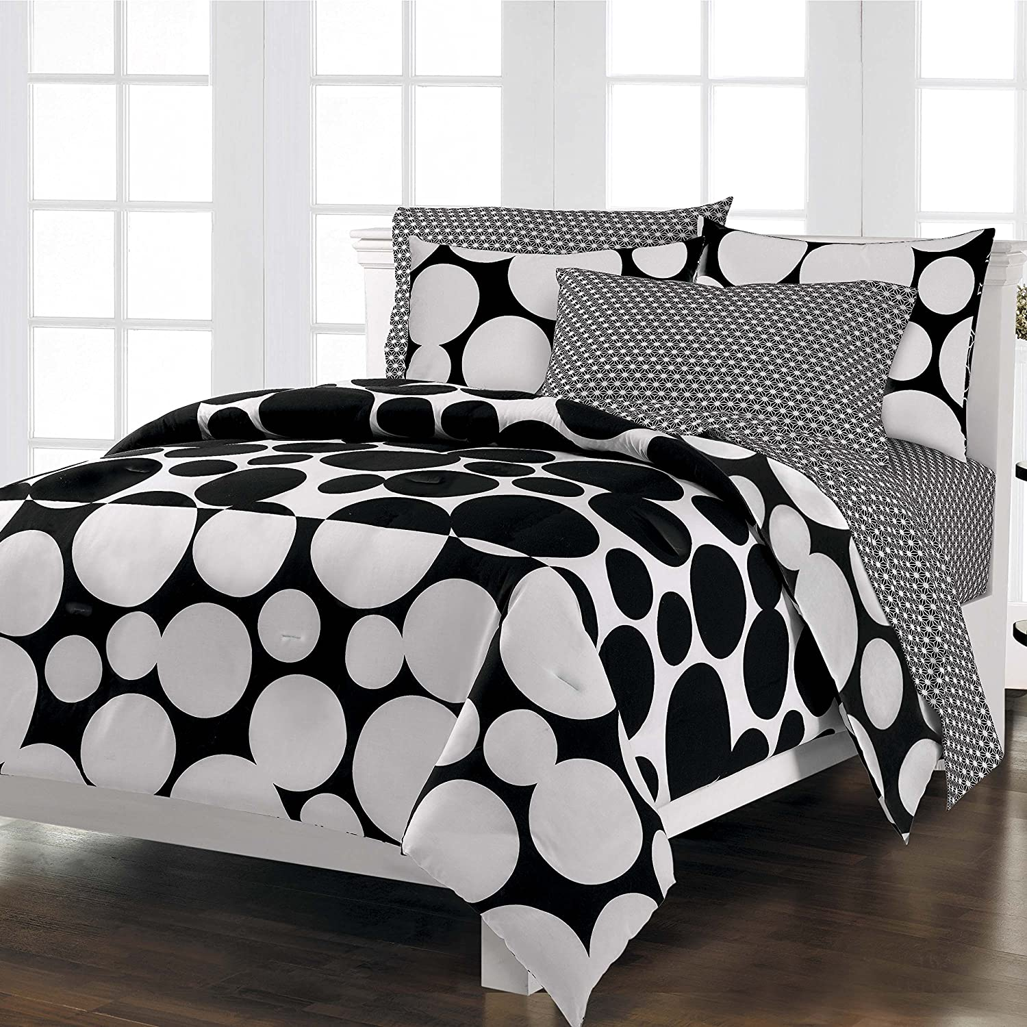 Bed sheet set black and white - Amazon Com Loft Style Spot The Dot Modern Bedding Comforter Set Black Twin Home Kitchen