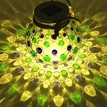 Sogrand BlueGreen Diamond Glass Jar Solar Lights Outdoor Sit on