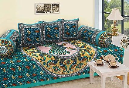 RajasthaniKart 6 Piece Cotton Single Diwan Set - Abstract, Multicolour
