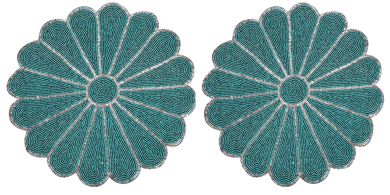 Handmade Round Beaded Placemat for Coffee Table Dining Table Silver Teal Beads - Pack of 2 measure 13 inches for Gathering, Thanksgiving - Occasional decoration and Family Parties Celebrations.