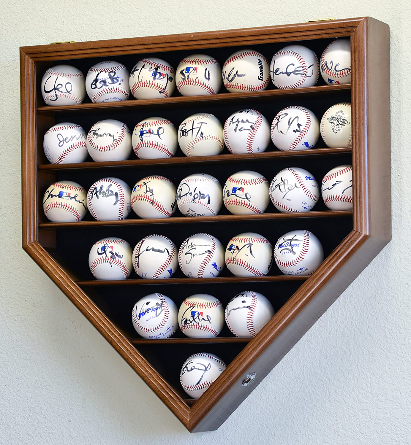 30 Baseball Ball Display Case Cabinet Holder Rack Home Plate Shaped w/98% UV Protection- Lockable -Walnut