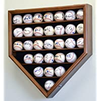 30 Baseball Ball Display Case Cabinet Holder Rack Home Plate Shaped w/98% UV Protection- Lockable