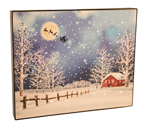 Amazon.com: Santa\'s Flying Sleigh Light Up Canvas by Clever ...