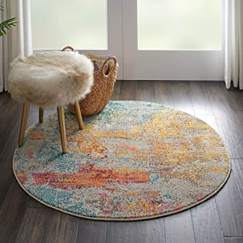 Amazon Com Nourison Celestial Modern Abstract Area Rug 7 10 X Round 8 Round Sealife Multicolor Grey Furniture Decor