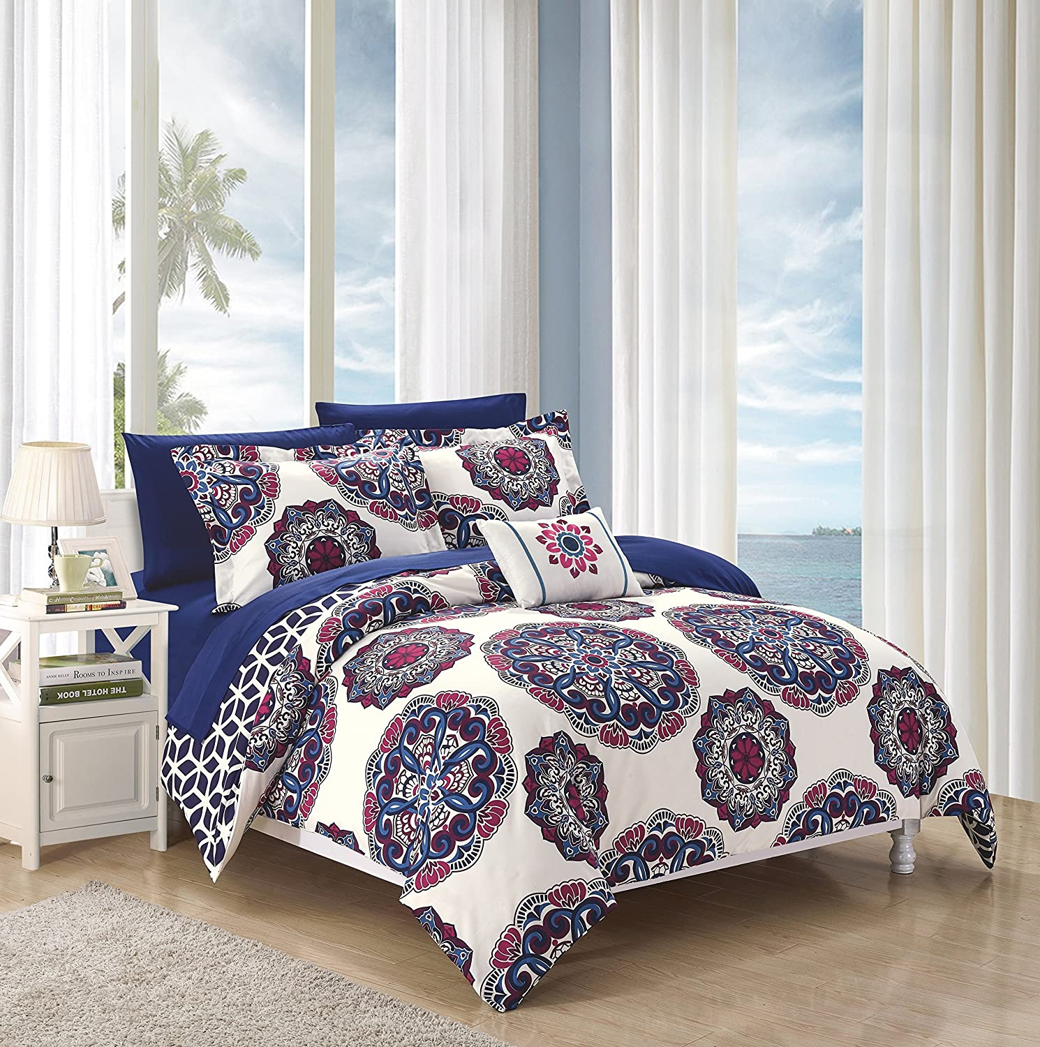 Chic Home 8 Piece Barcelona Super Soft microfiberREVERSIBLE Full/Queen Bed In a Bag Comforter Set Navy