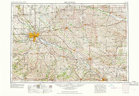 Amazon.com : YellowMaps Des Moines IA topo map, 1:250000 Scale, 1 X ...