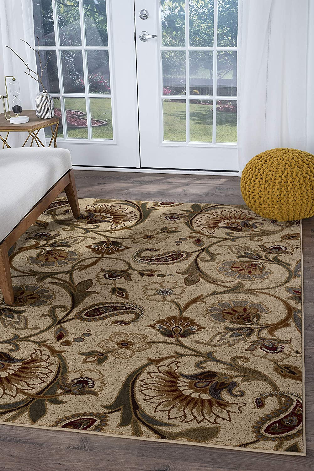 Amazon Com Tayse Fairfield Beige 8x11 Rectangle Area Rug For Living Bedroom Or Dining Room Transitional Floral Furniture Decor