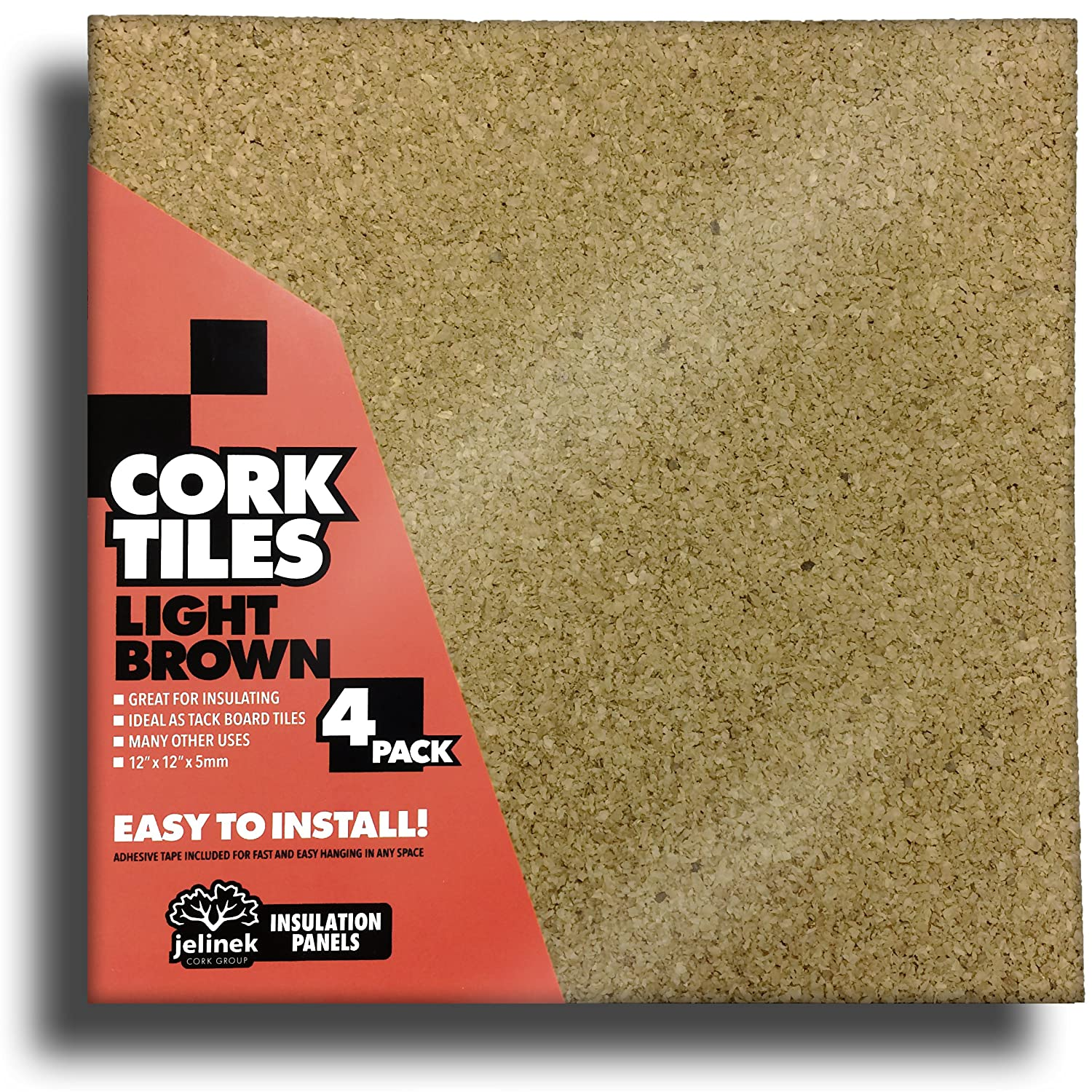 "12 x 12"" Light Brown Cork Tiles - Pack of 4"