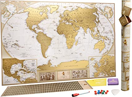 Petit RAYE carte du monde Deluxe Edition Voyage Journal Journal Poster Wall Decor