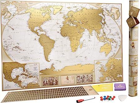 MyMap Mapamundi Deluxe «viaja y rasca» - Para Rascar los Lugares Que Has Visitado – Grande Con Pines - Marca 10 000 Ciudades y Lugares - Mapa para rascar - Rasca el Mundo - Rascar Mapamundi: Amazon.es: Hogar