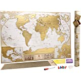 Scratch Off Map of the World - Deluxe Large Scratchable World Map - You Can Mark 10 000 Cities And Places - Personalised Travel Tracker Poster - Share And Remember Your Traveling Adventures - World Map