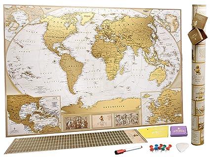 Grande Carte Du Monde à Gratter édition De Luxe Planisphère à Gratter 10 000 Villes Et Endroits à Marquer