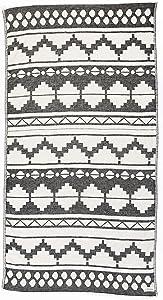 Bersuse 100% Cotton Baja Dual-Layer Handloom Turkish Towel-37X70 Inches, Black