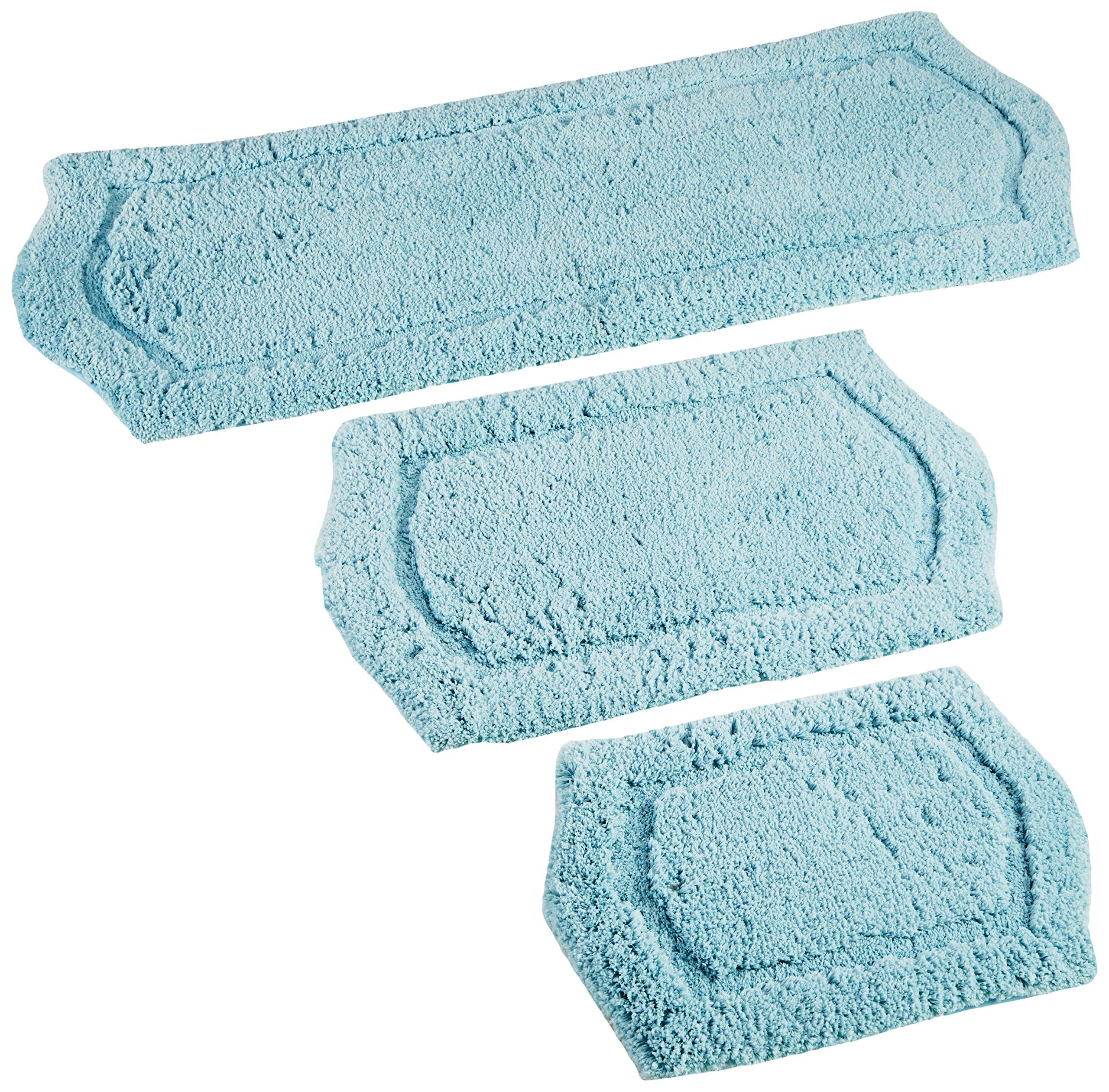 Chesapeake Merchandising 3-Piece Paradise Memory Foam Bath Rug Set, Spa Blue