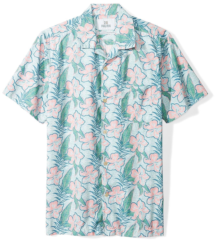 28 Palms Men's Standard-Fit 100% Cotton Tropical Hawaiian Shirt MPM25007