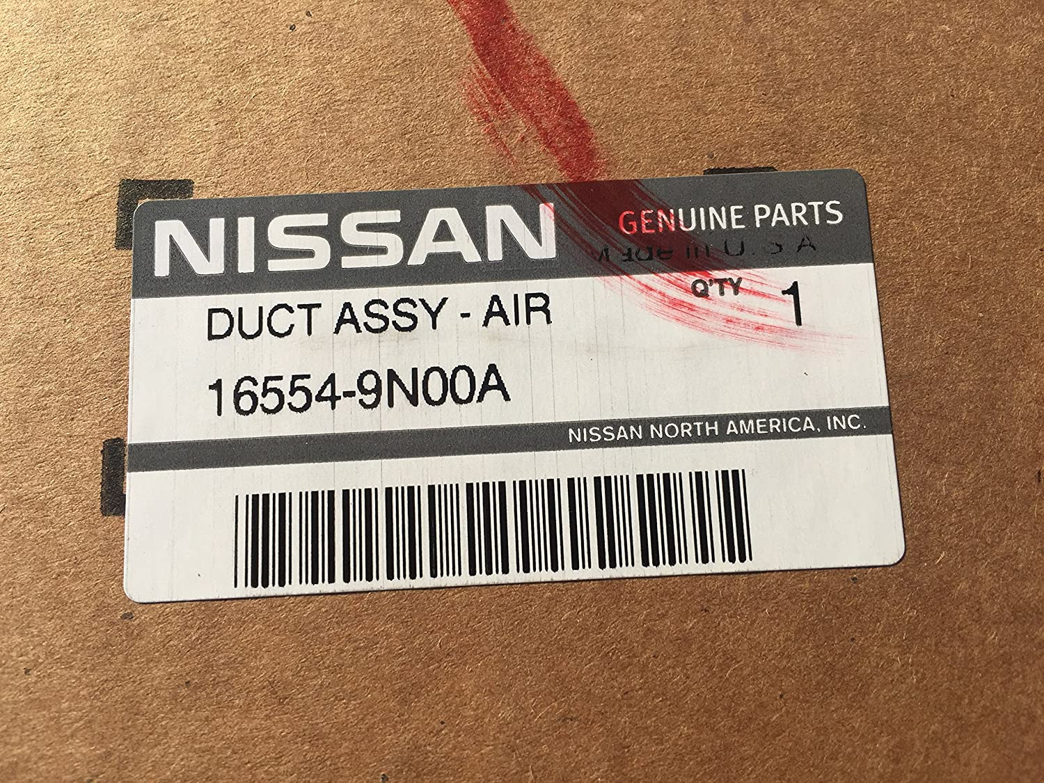 Genuine Nissan 16554-9N00A Air Duct Assembly