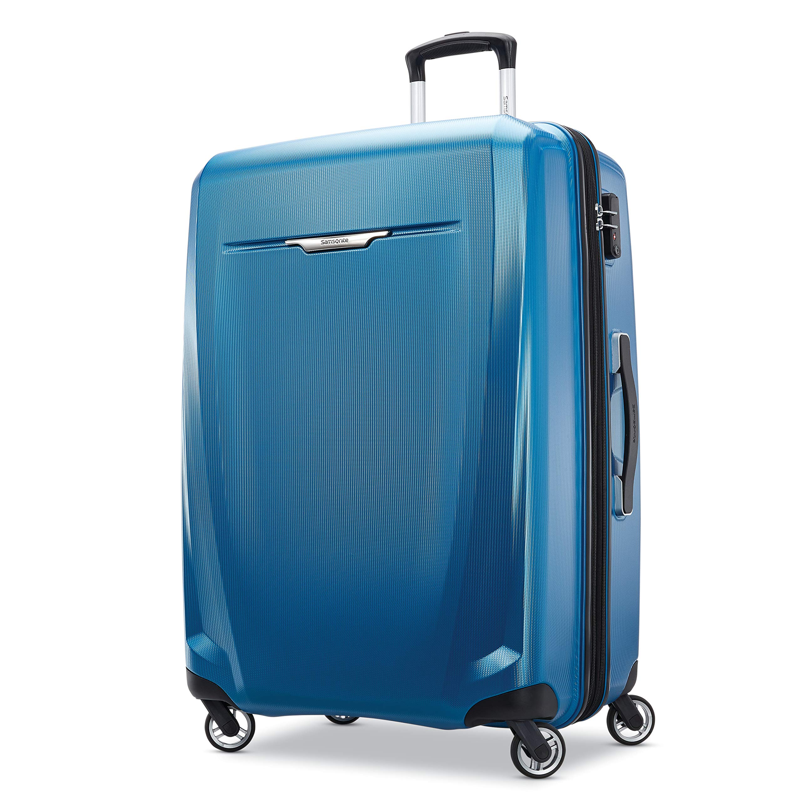 Samsonite Winfield 3 DLX Hardside Checked Luggage with Spinner Wheels, 28-Inch, Blue/Navy
