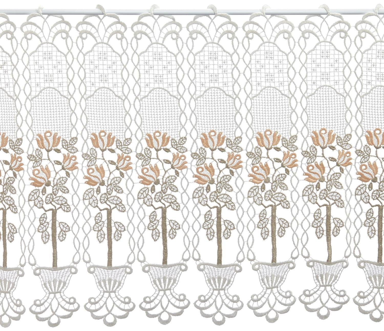 Plauener Spitze by Modespitze, Store Bistro Gardine Scheibengardine mit Stangendurchzug, hochwertige Stickerei, Höhe 50 cm, Breite 144 cm, Creme Beige Lachs