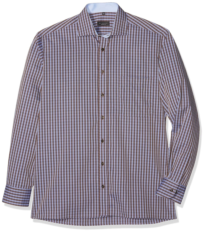 Eterna Comfort Fit Langarm Beige/Braun Kariert Mit Classic Kent-Kragen, Camisa para Hombre