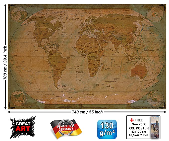 Historical world map poster xxl wall picture decoration globe historical world map poster xxl wall picture decoration globe antique vintage world map used atlas map old school wallposter photoposter wall mural wall gumiabroncs Choice Image