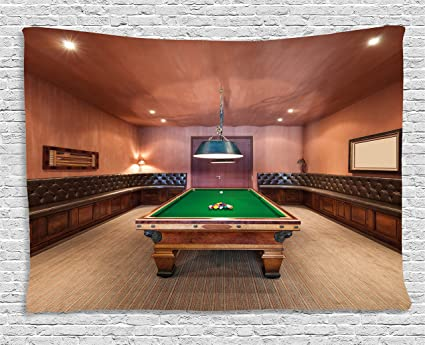 Ambesonne Modern Decor Tapestry, Entertainment Room in Mansion Pool Table  Billiard Lifestyle Photo Print, Wall Hanging for Bedroom Living Room Dorm,  ...