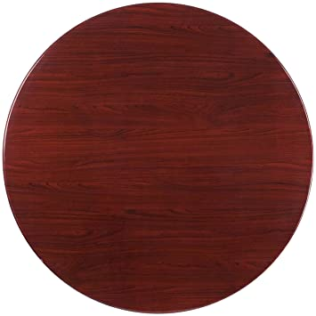 Flash Furniture 48u0027u0027 Round High Gloss Mahogany Resin Table Top With 2u0027