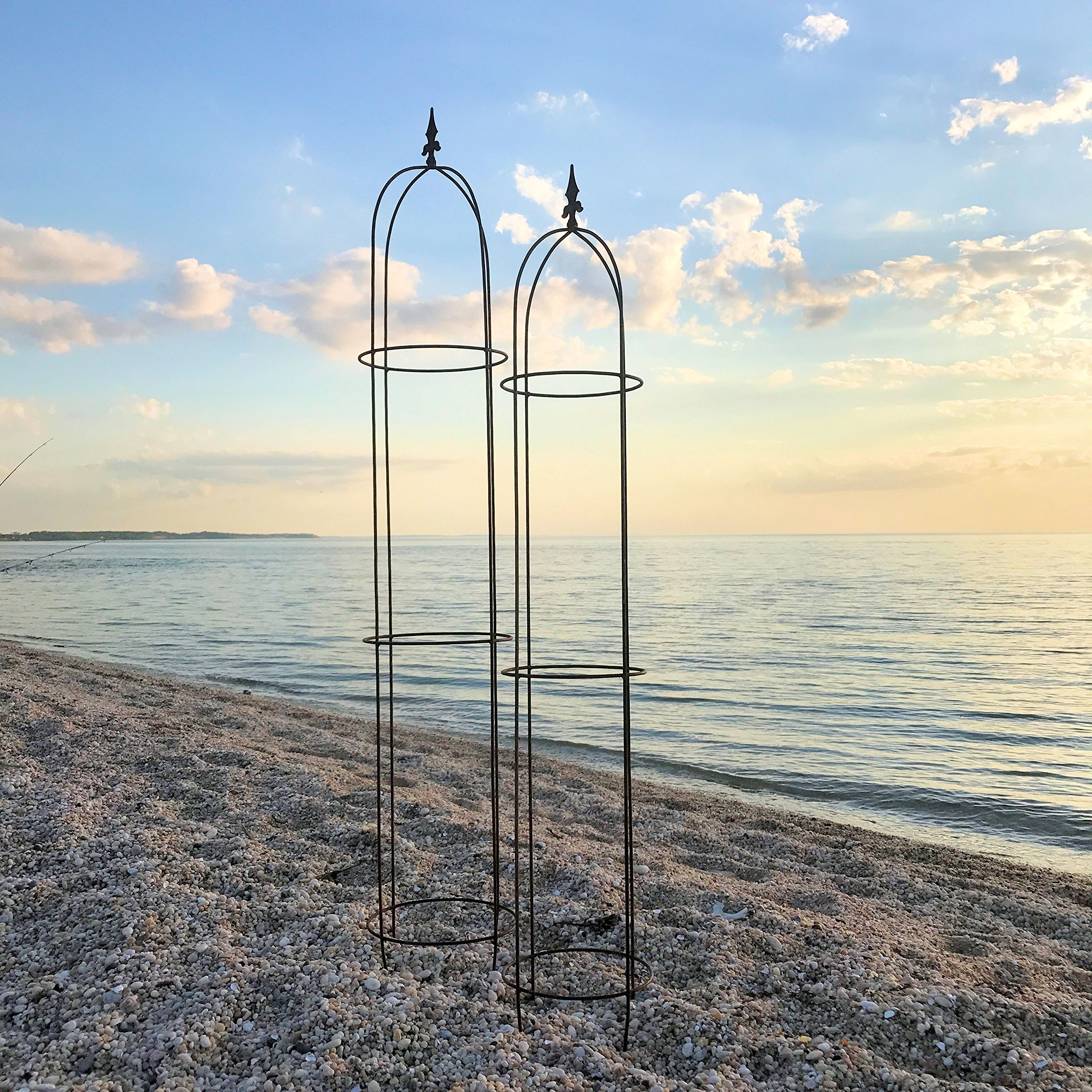 The French Country Style Garden Trellises, Set of 2, for Plants, Climbing Flowers and Vines, Rusty Heirloom Style Finish, Water and Weather Resistant, 5 Ft 11'' and 5 Ft 3'''' Tall, Iron, by'' by Whole House Worlds (Image #2)