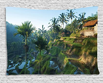 Ambesonne Wall Tapestry Balinese Decor Terrace Rice Fields Palm Trees Traditional Farmhouse Morning Sunrise View Bali Indonesia Wall Hanging For