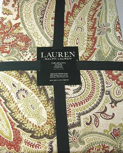 Ralph Lauren Laveen Paisley Tablecloth Brick 60 X 120 100% Cotton