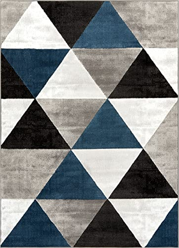 Well Woven Arlo Tiles Blue Modern Triangle Pattern 3 x 5 3 3 x 5 Area Rug Abstract Geometric Carpet