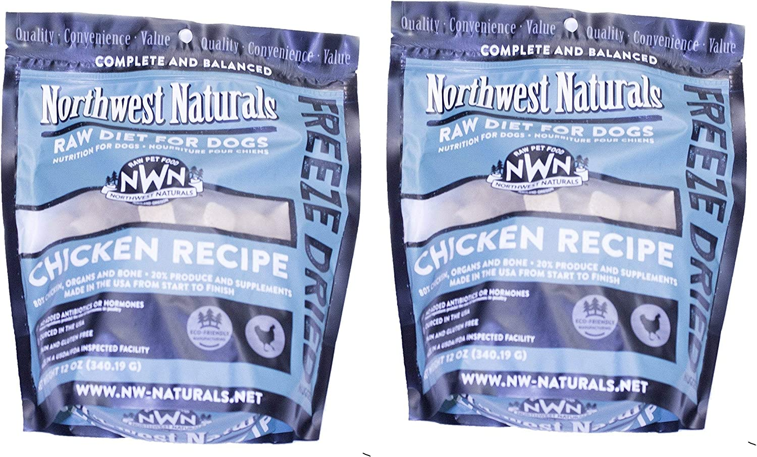 Northwest Naturals 2 Pack of Chicken Freeze-Dried Dog Food, 12 Ounces Each, Raw Diet for Dogs Made in The USA