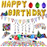 Joyin Toy Happy Birthday Party Supplies set (Over 100 PC) and Party Decorations All-in-One Pack including Banner, Flags, Foil Party Balloons, Hats,Confetti, Tablecloth and Plates.