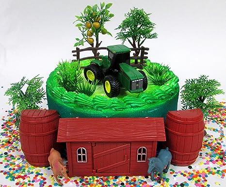 Enjoyable Amazon Com Farming Tractor Farmer Themed Birthday Cake Topper Set Personalised Birthday Cards Beptaeletsinfo