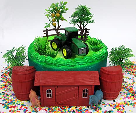 Cake Toppers John Deere Farming Tractor Farmer Themed Birthday Set Featuring Figure And Decorative