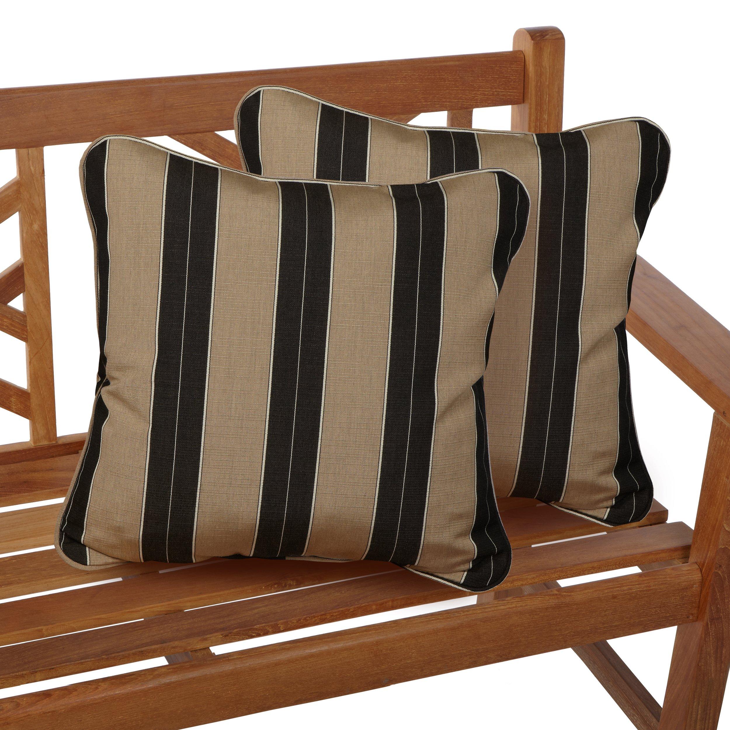 Mozaic Company Sunbrella Indoor/ Outdoor 18-inch Corded Pillow, Berenson Tuxedo, Set of 2
