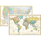 Rand McNally Classic United States USA and World Wall Map Set (Laminated)