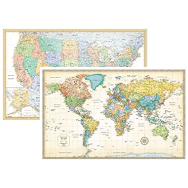 RMC Classic United States USA and World Wall Map Set (Laminated)