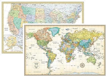 Amazon.com: RMC Classic United States USA and World Wall Map Set ...