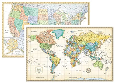 rmc classic united states usa and world wall map set laminated