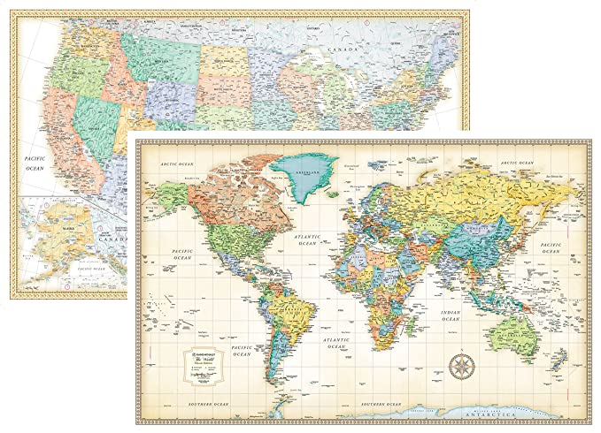 RMC Classic United States USA and World Wall Map Set (Paper)