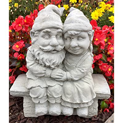 Whimsical Gnomeo and Juliet Gnome Statue Handmade in USA made of cast stone concrete great for indoor our outdoor 5 finishes painted stained or unpainted (Unpainted) : Garden & Outdoor