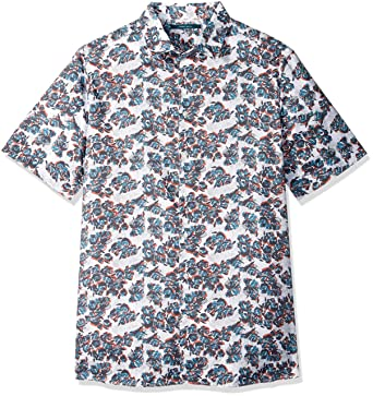 1e3ddb2664ab3a Amazon.com: Perry Ellis Men's Big and Tall Big & Tall Floating Floral Shirt,  Bright White 3X: Clothing