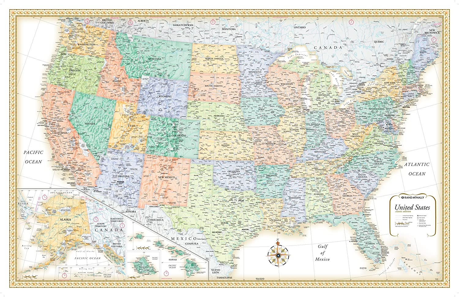 Amazoncom X Rand McNally Classic United States USA Wall Map - Us maps states