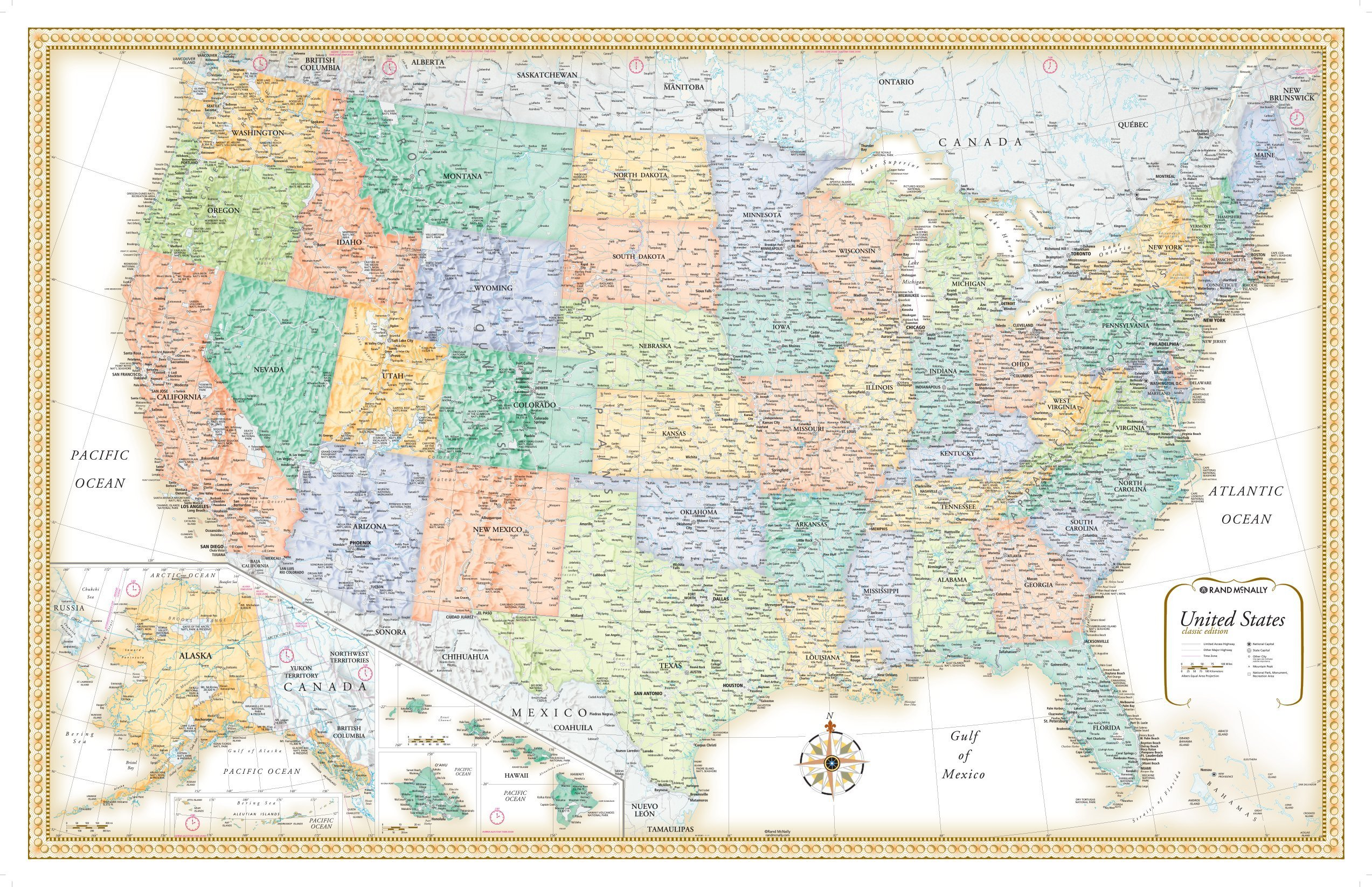 32x50 Rand McNally Classic United States USA Wall Map Framed Edition
