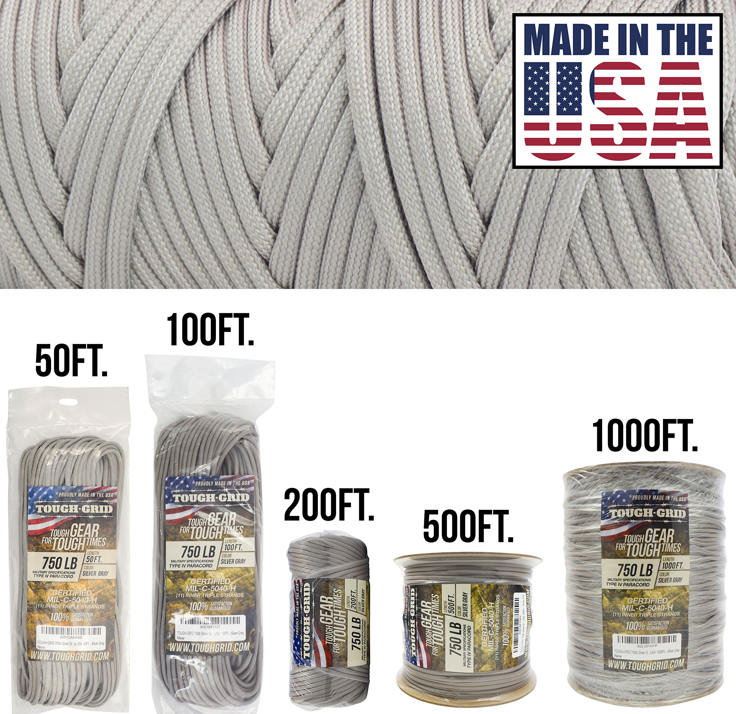 TOUGH-GRID 750lb Silver Gray Paracord/Parachute Cord - Genuine Mil Spec Type IV 750lb Paracord Used by The US Military (MIl-C-5040-H) - 100% Nylon - Made in The USA. 1000Ft. - Silver Gray by TOUGH-GRID