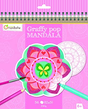 Avenue Mandarine Graffy Pop Mandalas para colorear, para niñas (negro/blanco)