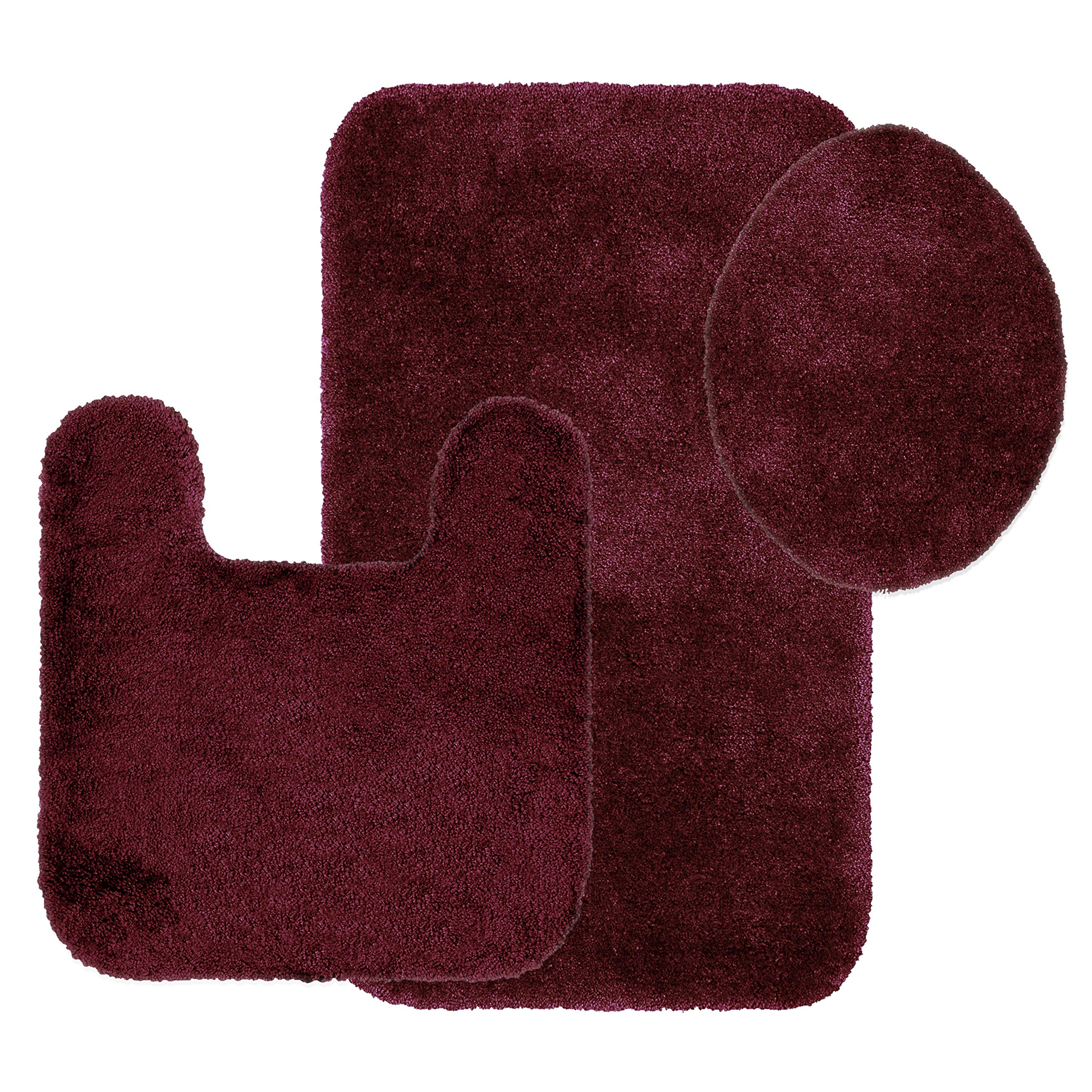 Maples Rugs Bathroom Rugs Colorsoft 3pc Non Slip Washable Bath Mats & Toilet Lid Cover Set [Made in USA] Soft & Quick Dry Crimson Victory